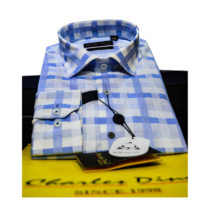 Light blue checkers Charles Dino Shirt