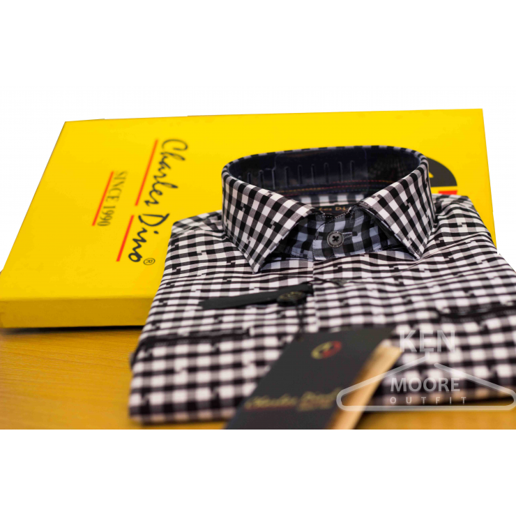 Black checkers Charles Dino Shirt