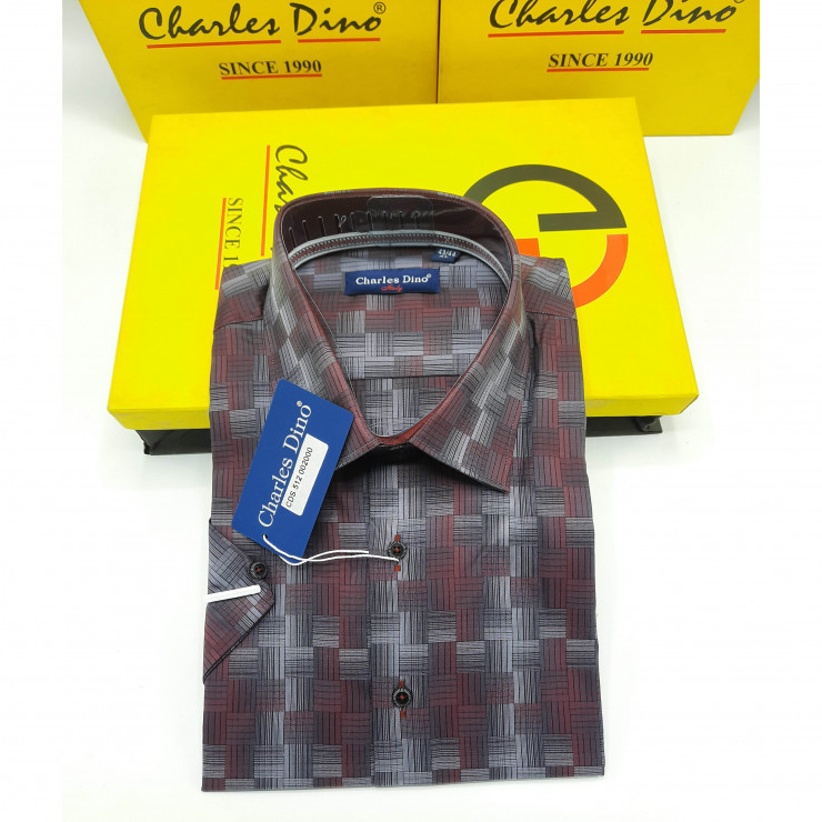 Brown Checkers Charles Dino Shirt