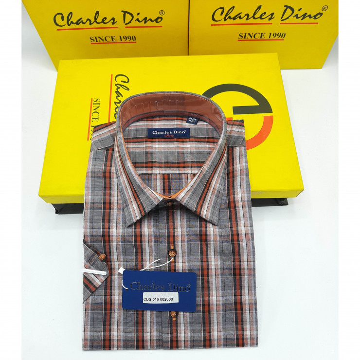 Brown Checkers  Short Sleeved Charles Dino Shirt