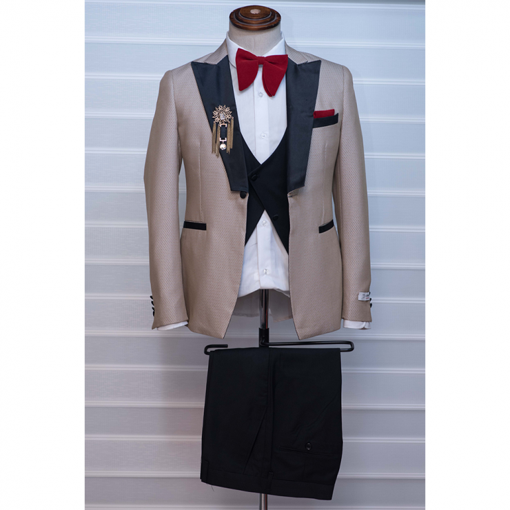 Gold with black tuxedo three piece tuxedo suit