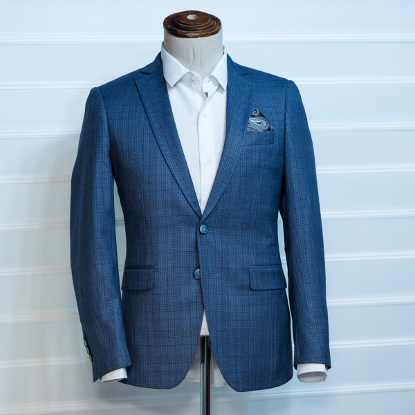navy blue checkers blazer