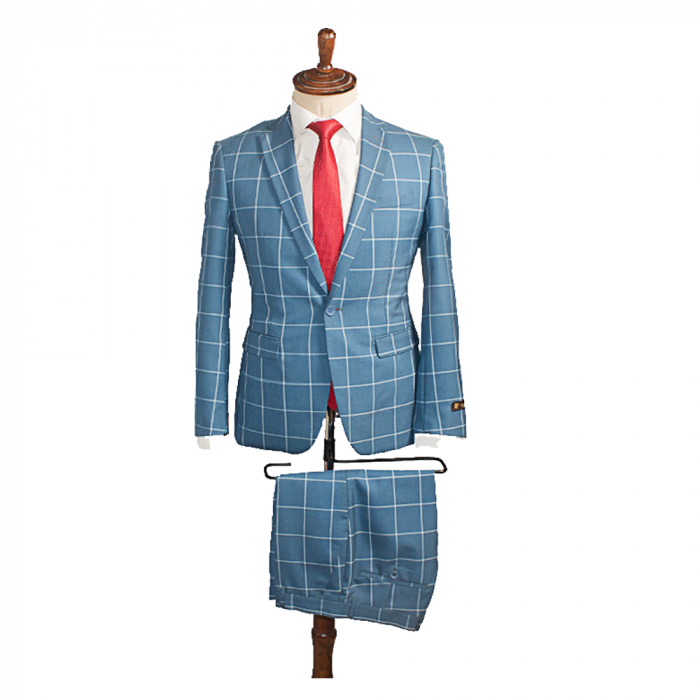 Blue bold checkers business Suit