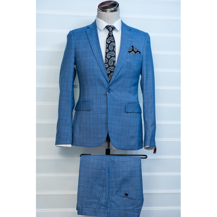 Sky Blue Checkers Suit