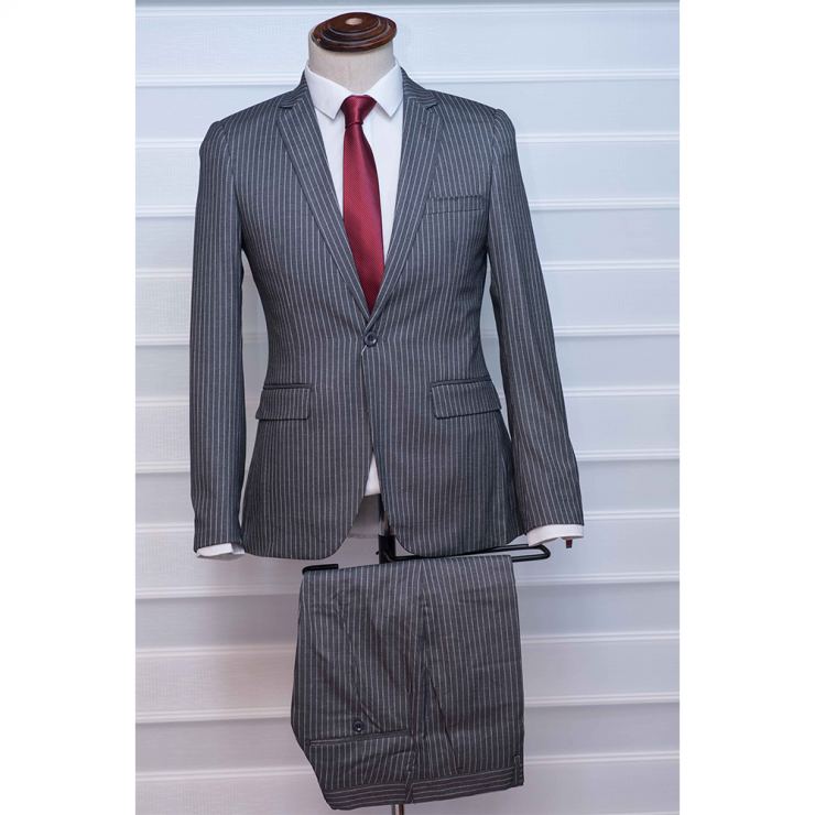 Grey striped two piece suit