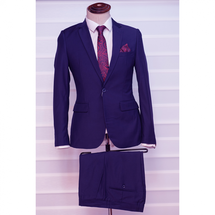 Navy blue two piece suit