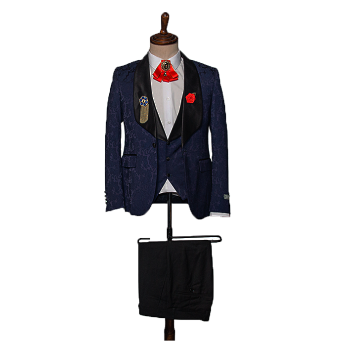 Floral navy blue tuxedo three piece suit