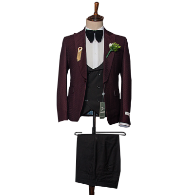 Classic burgundy three piece suit