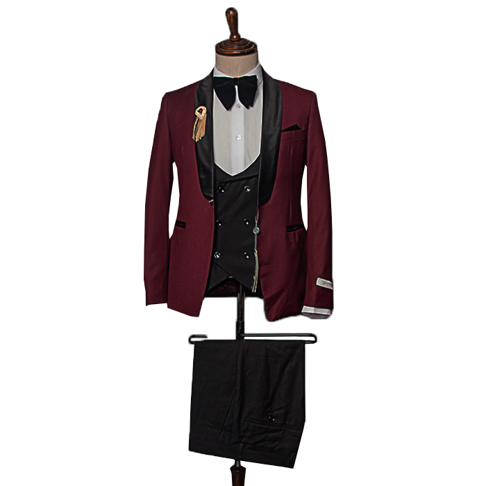 Burgundy tuxedo three piece suit
