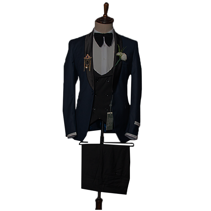 Navy blue tuxedo three piece suit