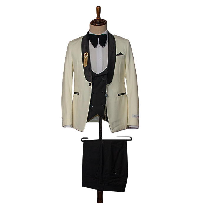 Cream color Tuxedo three piece suit