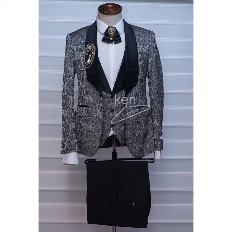 Floral grey tuxedo three piece suit