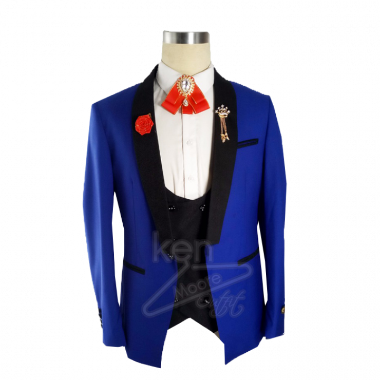 Classic royal blue tuxedo three piece suit