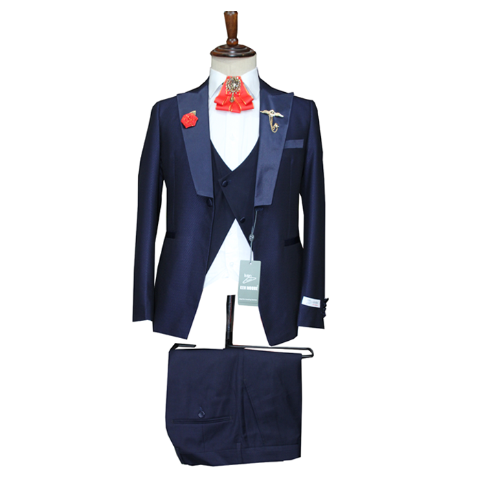 Classic Navy blue tuxedo three piece suit