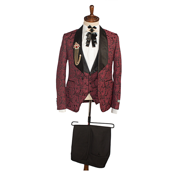 Floral Burgundy tuxedo three piece suit