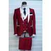 Red with white lapel tuxedo three piece suit