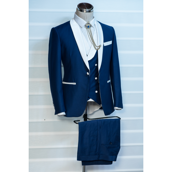 Navy blue with white lapel tuxedo three piece suit