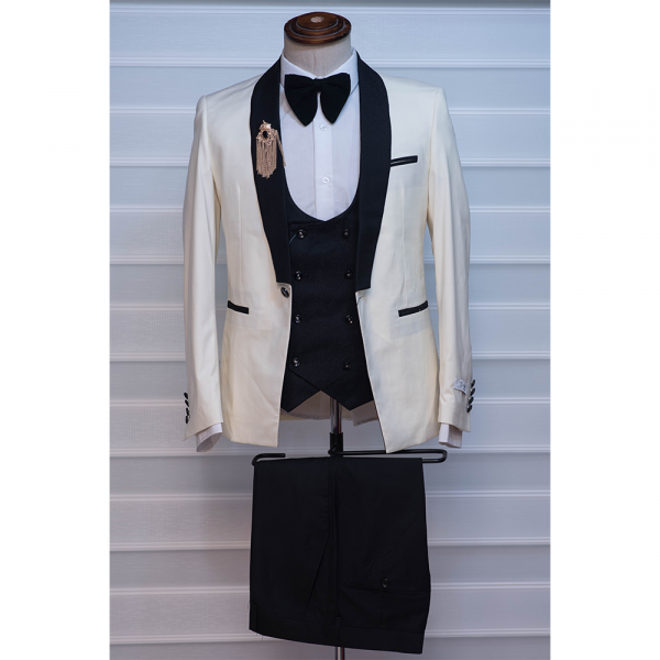 cream/milk color tuxedo with black lapel three piece suit