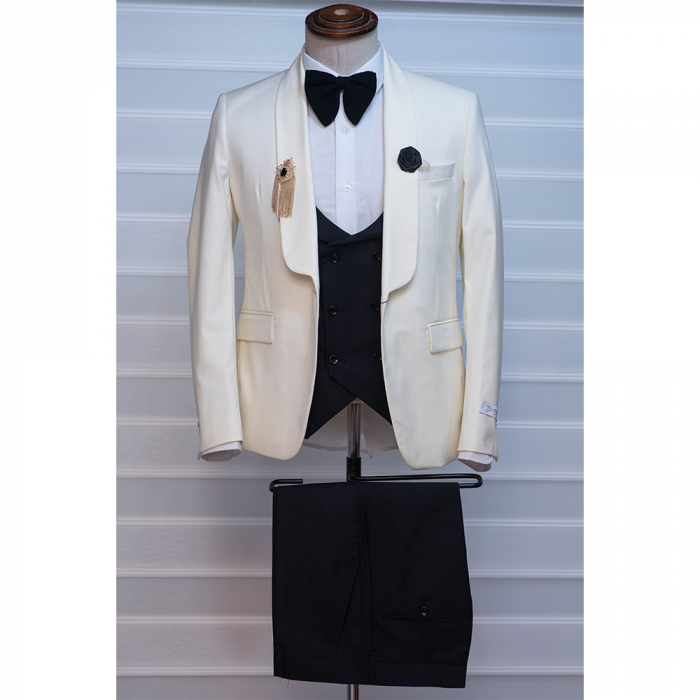 Plain cream/milk color tuxedo three piece suit.