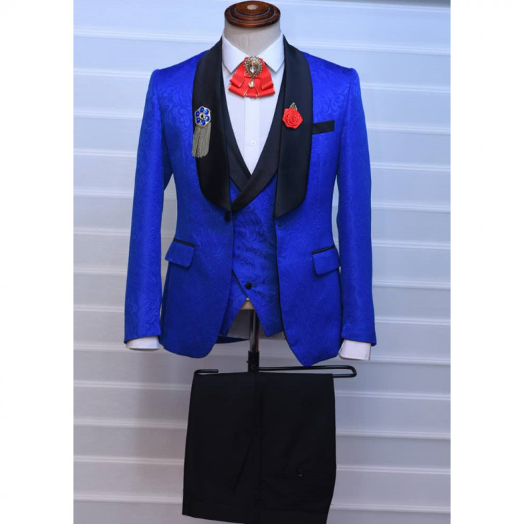 Floral royal blue tuxedo three piece suit