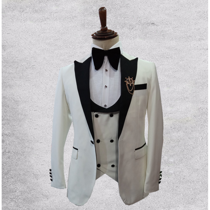 Off White Tuxedo Three piece Suit