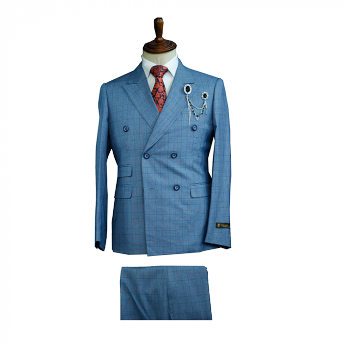 sky blue checkers double breasted suit