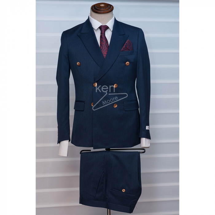 Classic Hidden stripes Navy blue  Double breasted Suit