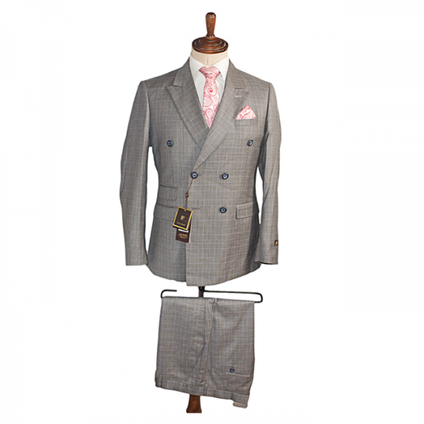 Grey checkers double breasted suits