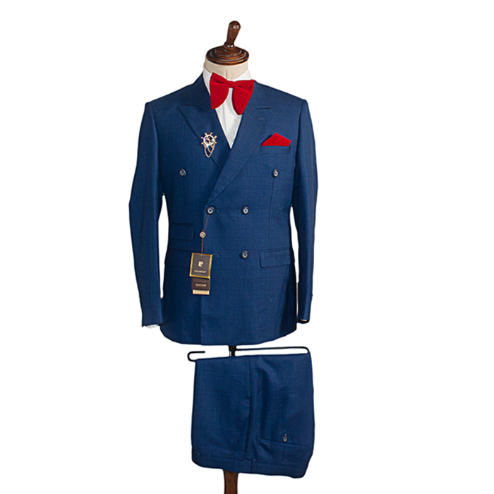 Deep navy blue double breasted checkers suit