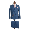 Navy blue checkers double breasted suit