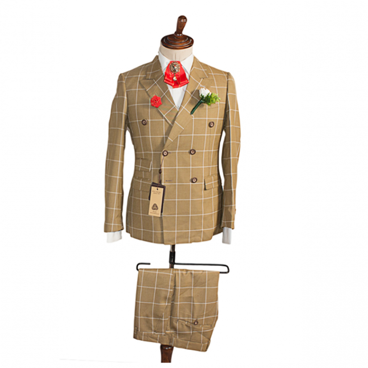 Carton color bold checkers double breasted  suit