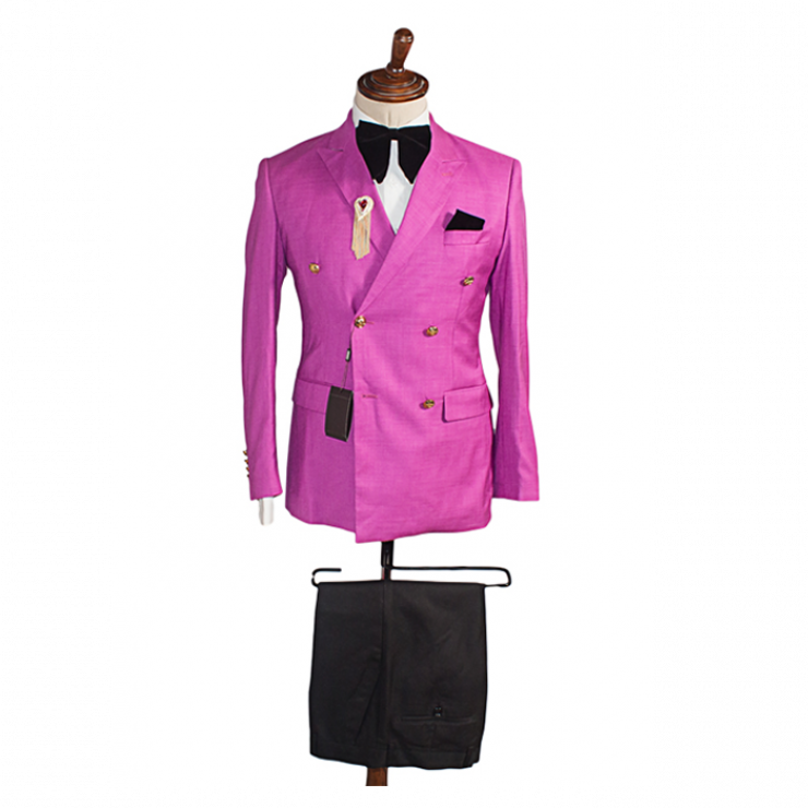 fuchsia pink double breasted suit