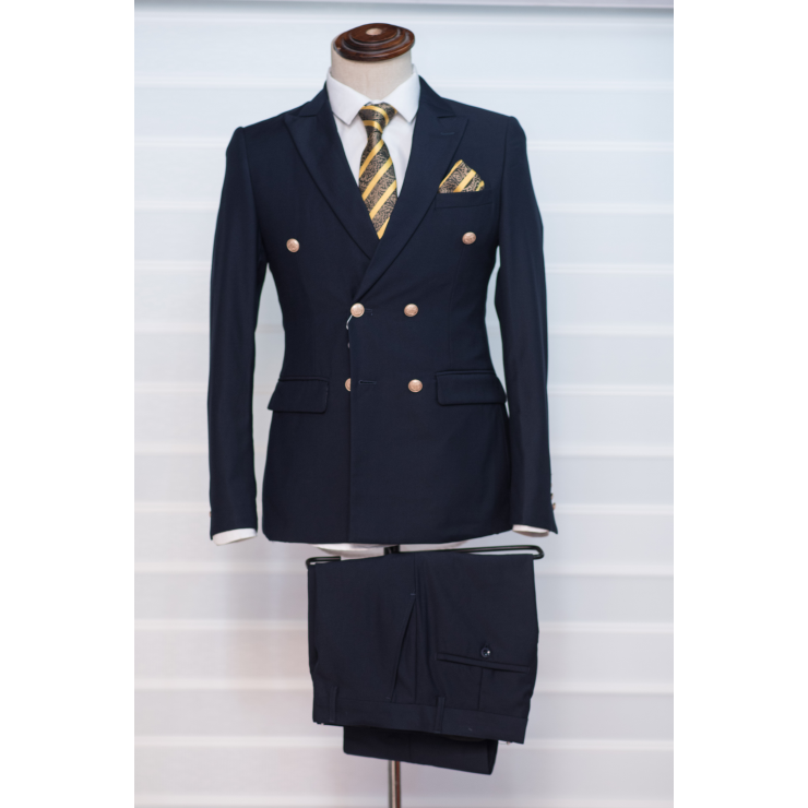 Gold button navy blue double breasted suit