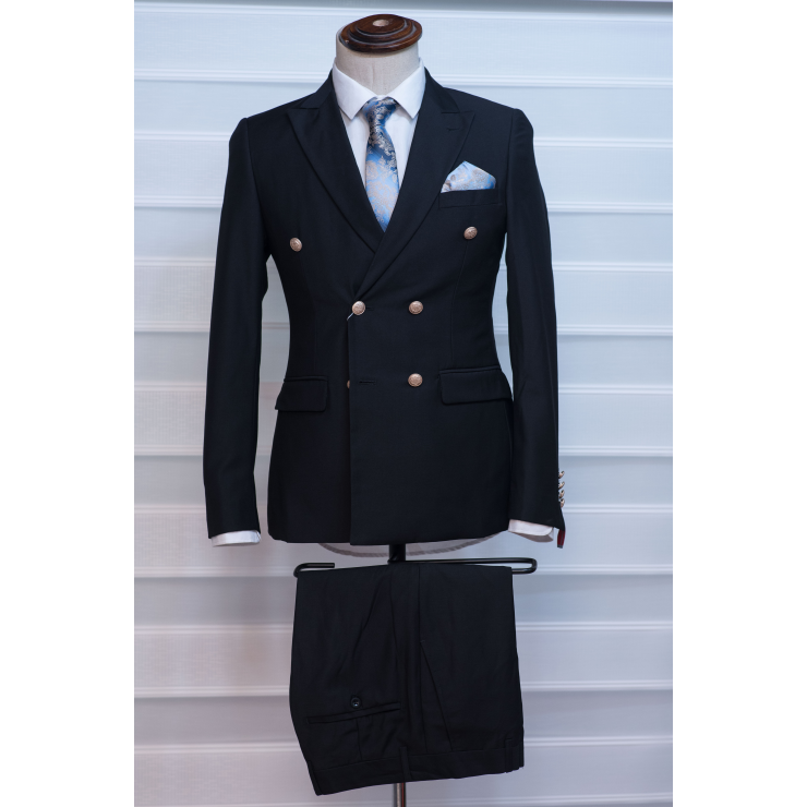Gold Button Black double Breasted suit