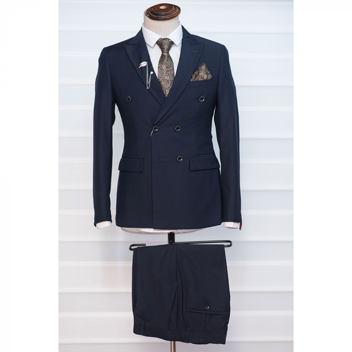 Plain Navy Blue Double breasted suit