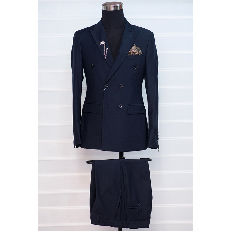 Navy blue double breasted suit with turtle neck
