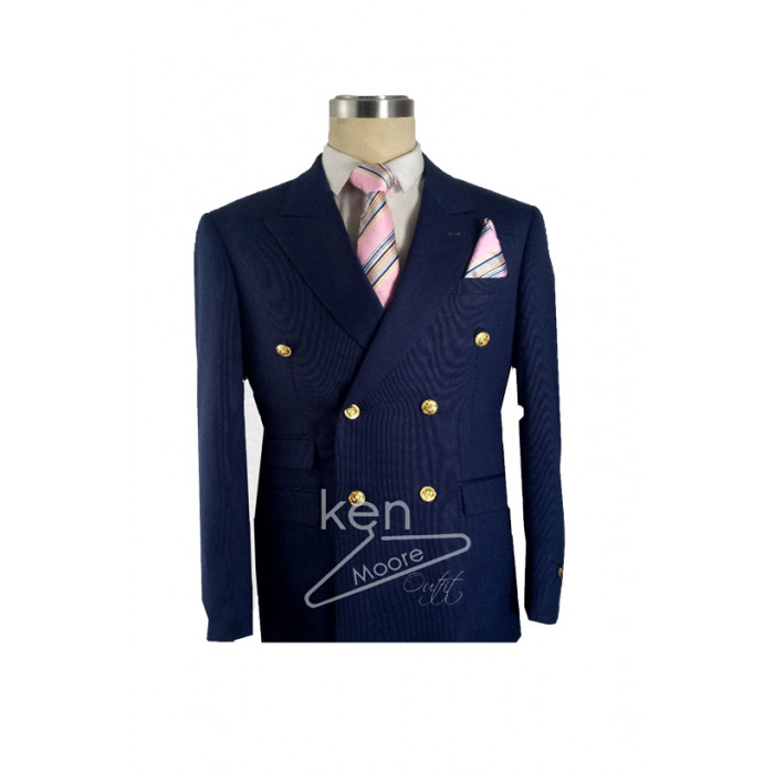 Hidden stripe  navy blue with Gold button double breasted suit
