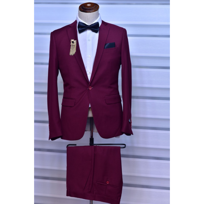 Wine Plain Two Piece suit Suit