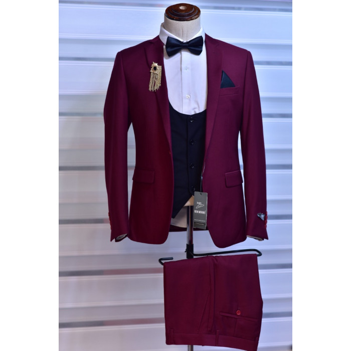 Wine Plain Three Piece suit Suit