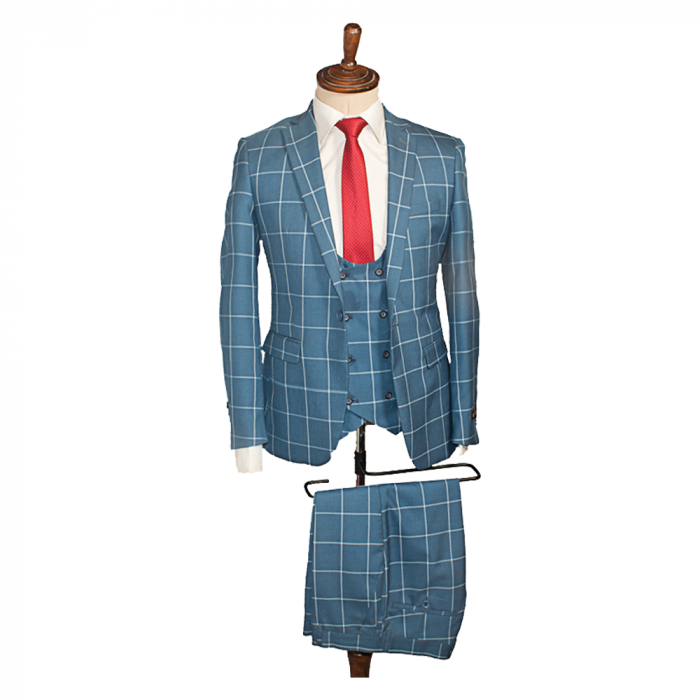 Blue bold checkers three piece suit