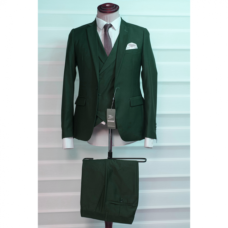 Forest green three piece suit