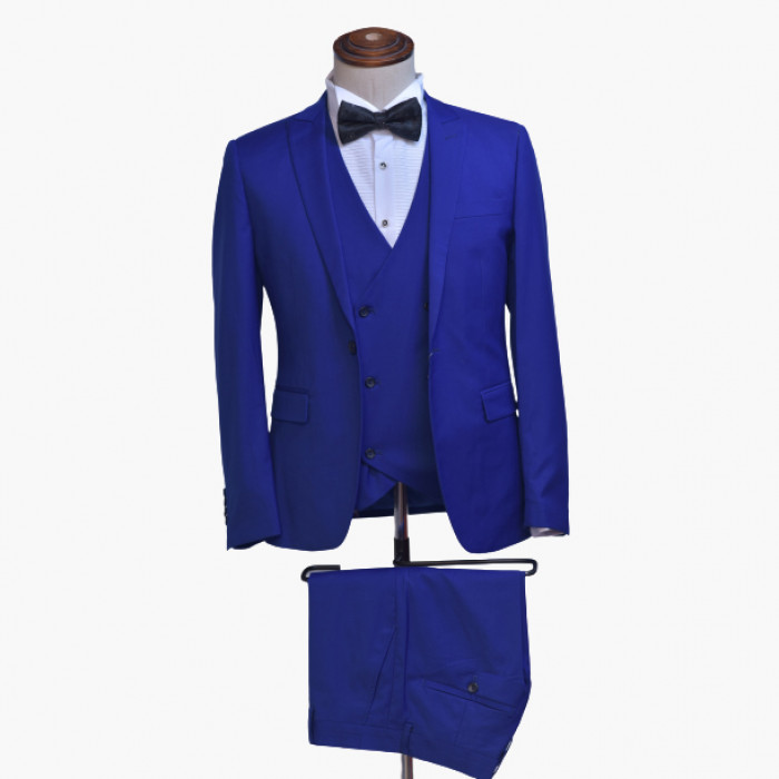Royal blue tuxedo three piece suit