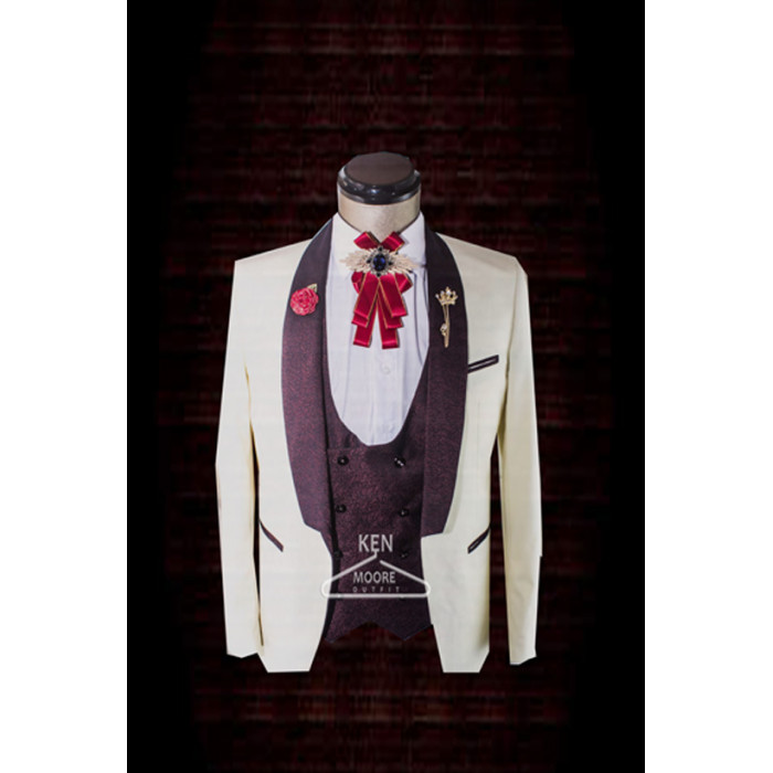 Shawl wine lapel  cream/milk tuxedo three piece suit
