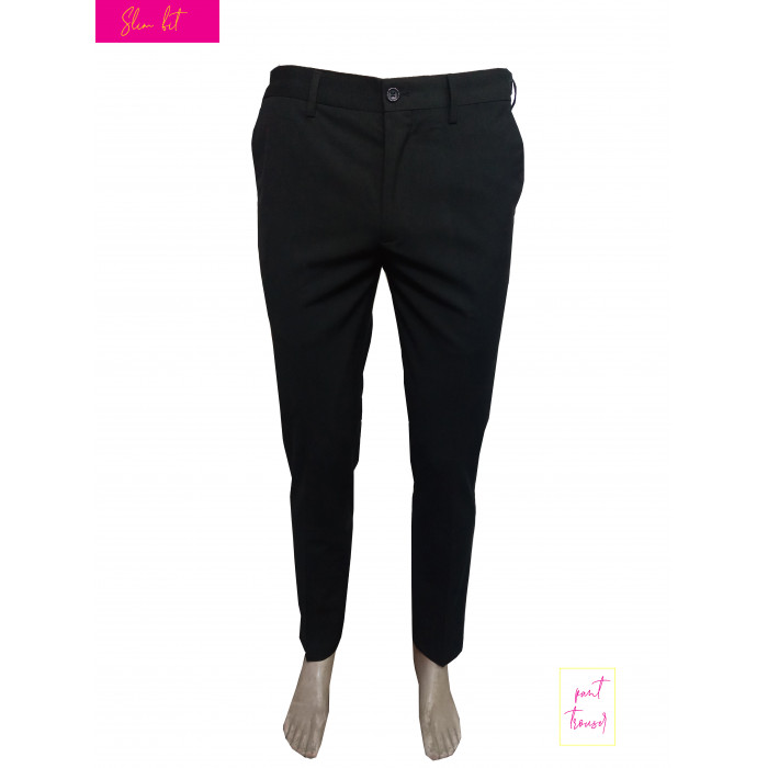 Black side buttoned slim pant trouser