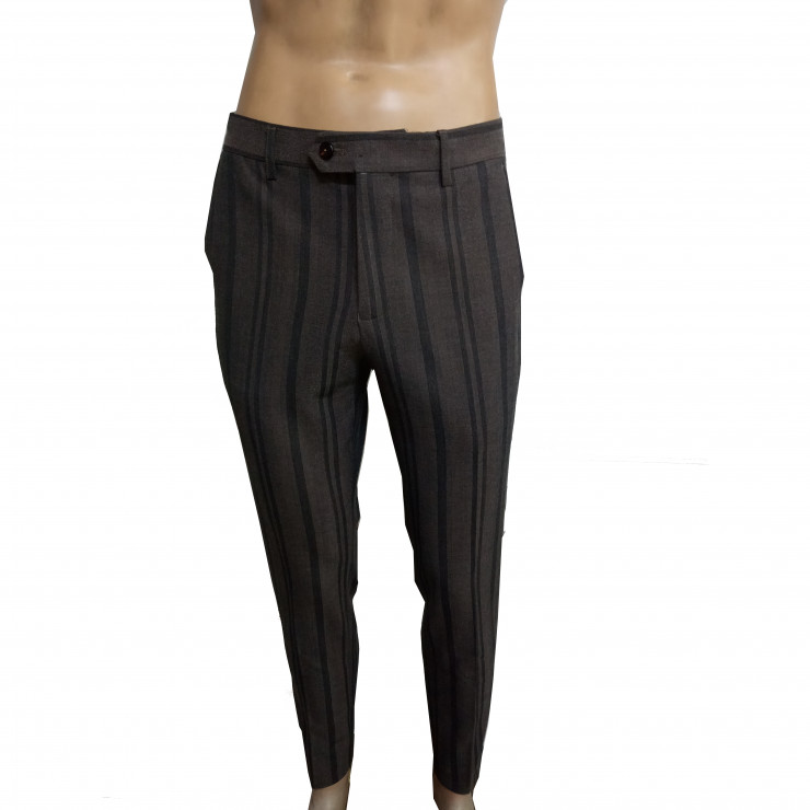 Carob Color with black stripe slim fit pant  trousers