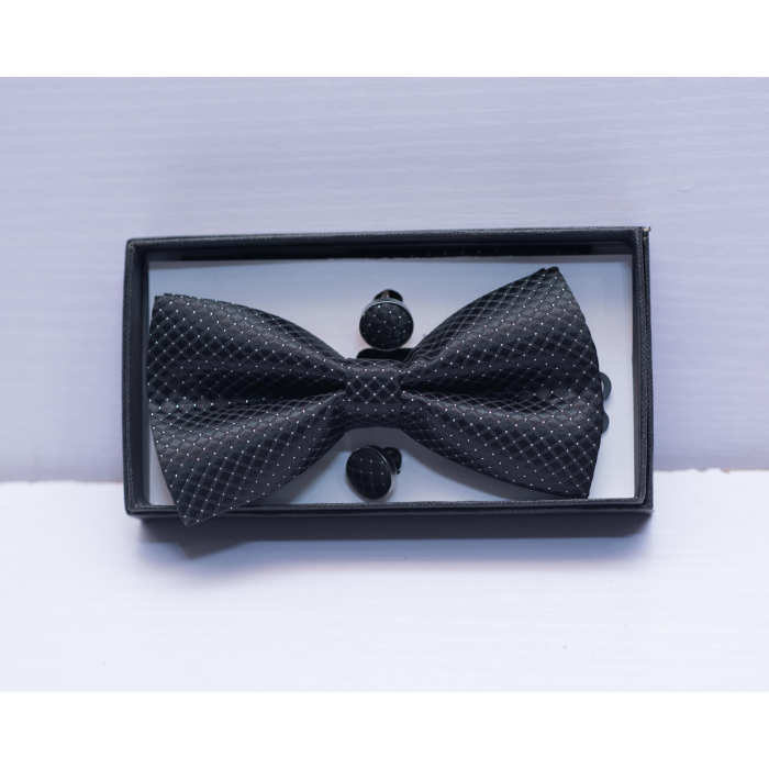Polka Dot Black Bow Tie