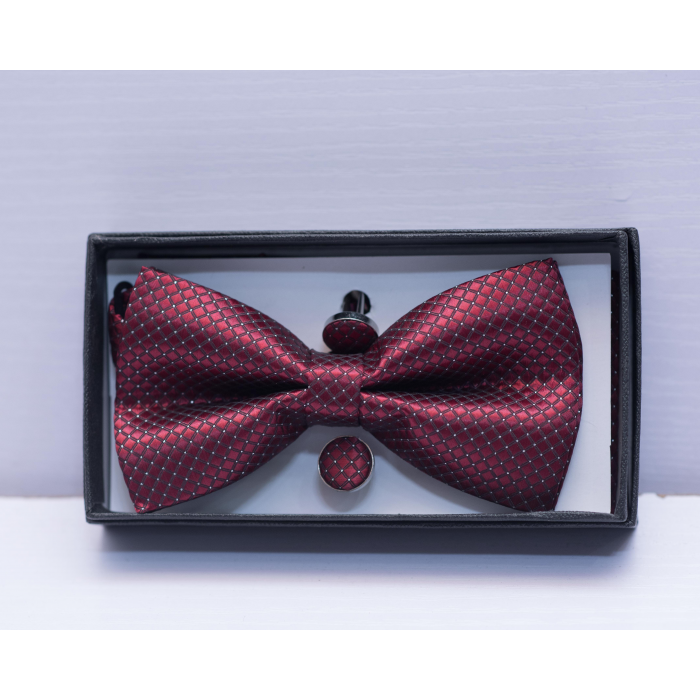 Wine Polka Dot Bow Tie
