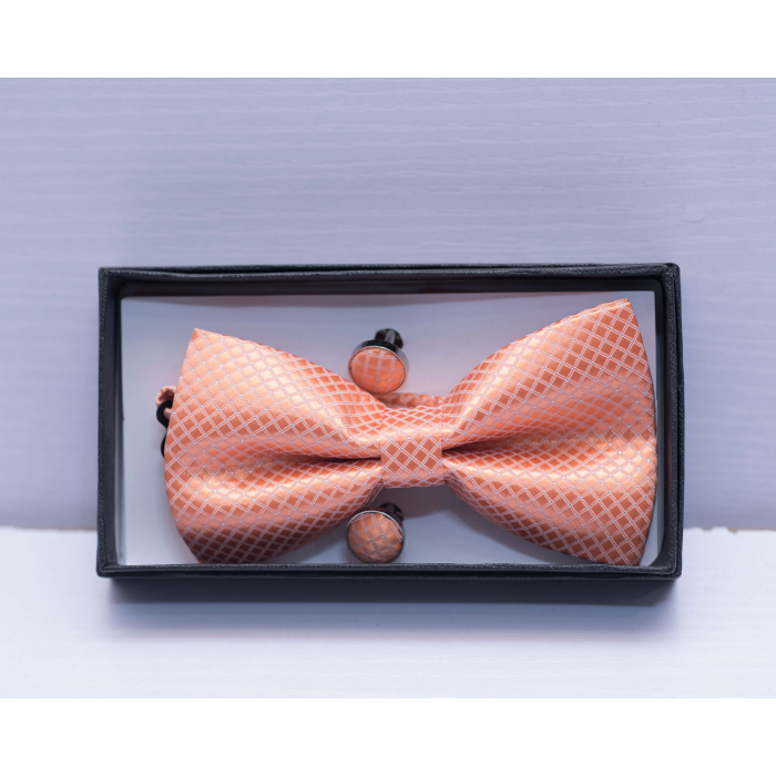 Polka Dot Peach Bow Tie