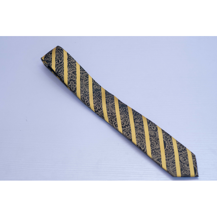 Brown floral yellow stripes long tie