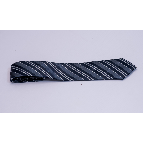 White and Black Striped Long Tie